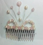 RQ-WP-RQH-HC Rose Quartz & White Pearl Hair Comb