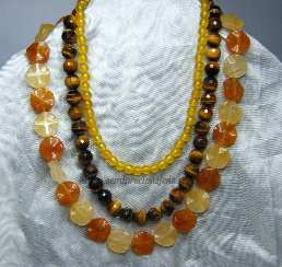GJ-TE-HYQ-N3 Jade, Tigers Eye & Quartzite 3 Strand Necklace