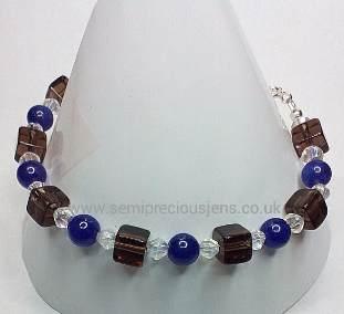 AQ-SQ-CB-B  Amethyst Quartzite & Smokey Quartz Bracelet