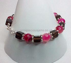 SQ-FSBA-B  Fuschia Stripe Banded Agate & Smokey Quartz Bracelet