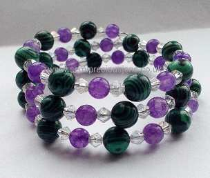 Malachite and Amethyst Memory Wire Bracelet
