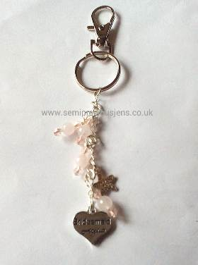 RQ-PB-BM-KR Rose Quartz Bridesmaid Keyring/Bag Charm