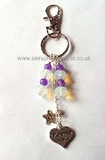 OP-AM-BM-KR Opalite & Amethyst Bridesmaid Keyring/Bag Charm