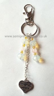 Opalite & Rose Quartz Bridesmaid Keyring/ Bag Charm