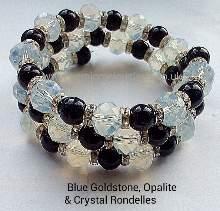 Blue Goldstone & Opalite Memory Wire Wrap Bracelet