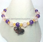 Amethyst & Rose Quartz Bridesmaid Elasticated Bracelet