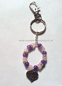 Amethyst & Rose Quartz Bridesmaid Keyring