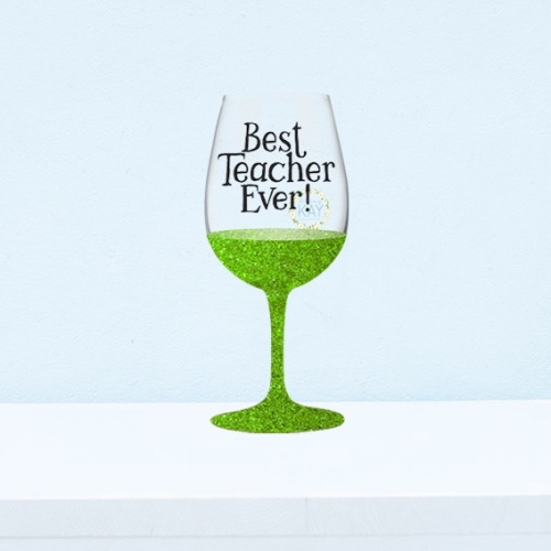 6 x best teacher ever wine glass bauble vinyl stickers v124