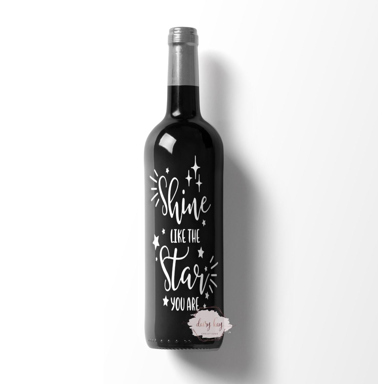 friends are like stars wine bottle decal Vinyl Sticker