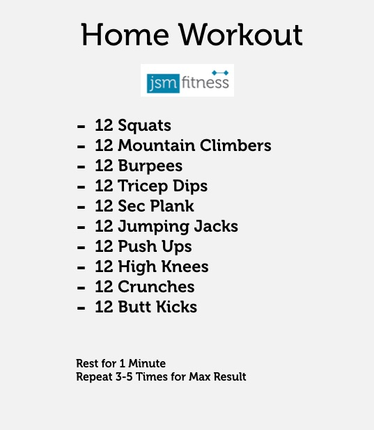 Home Workout -JSM fitness  -  Personal Trainer