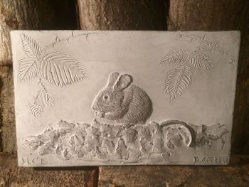 Woodland mouse wall art, waxed cast stone