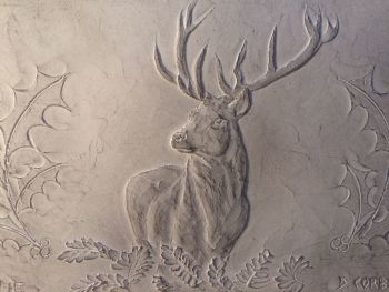 Stunning stag wall ornament, waxed cast stone