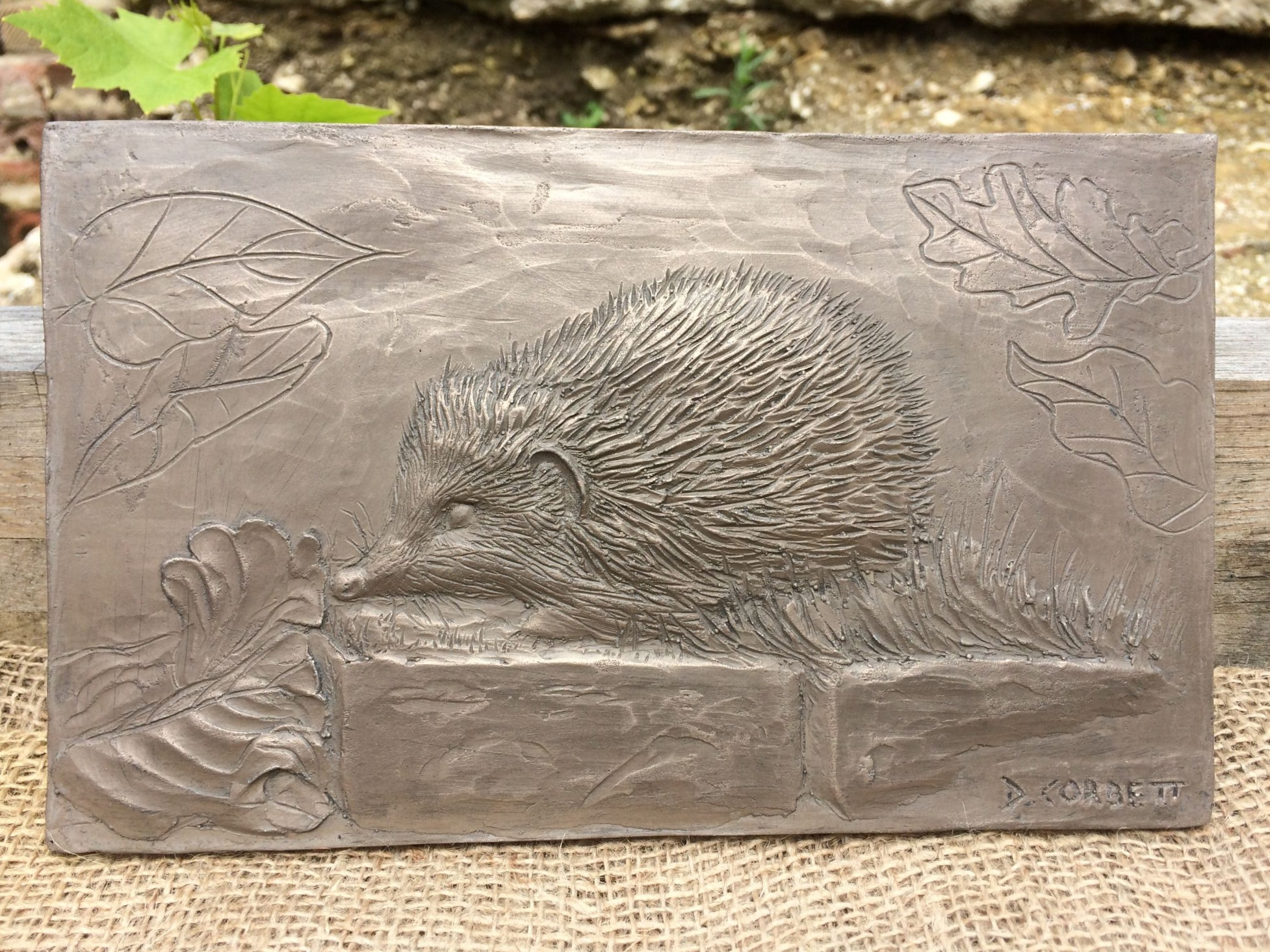 Bronze effect hedgehog garden sculpture