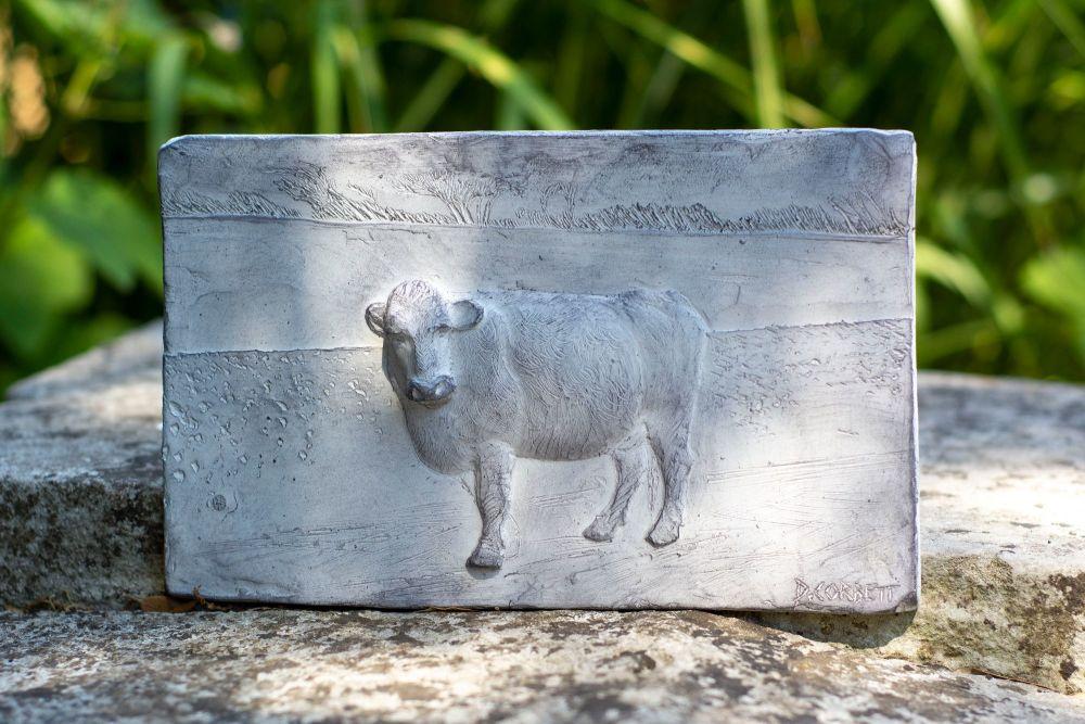 Cow Garden Plaque, Cast Stone