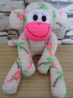 Sock Monkey with Parrots and Palm tree design