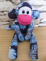 Navy Sock Monkey with Leaf design pink mouth