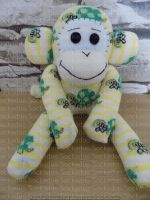 Cream Sock Monkey with Green Turtles