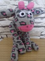 Pink & Grey Animal print Sock Giraffe