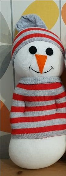 Snowman with Stripey Jumper and Hat