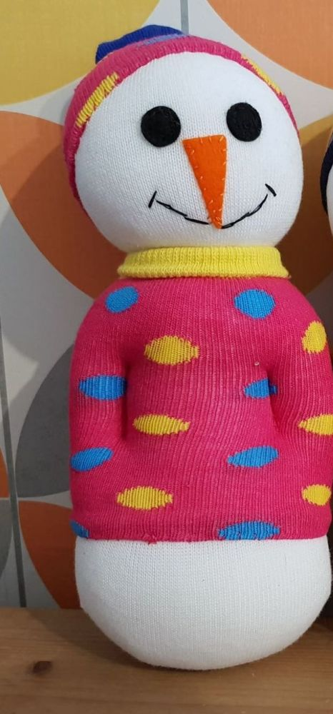 Snowman with Pink Spotty Jumper and Hat