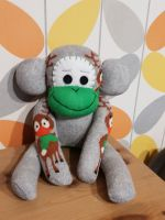 Christmas Grey Sock Monkey with Reindeer