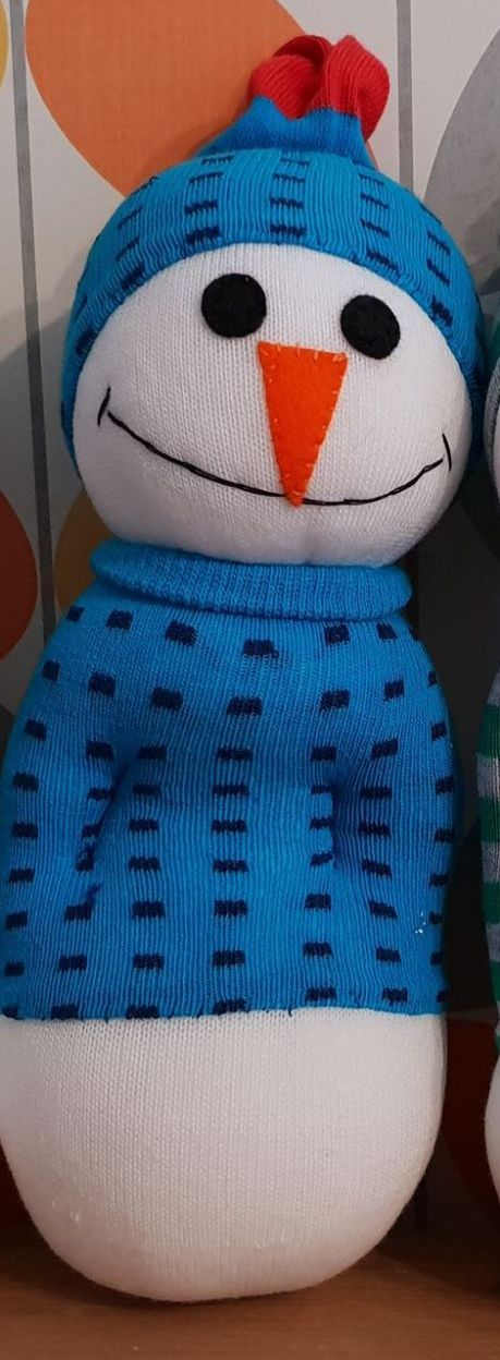 Snowman with Blue Dotty Jumper and Hat
