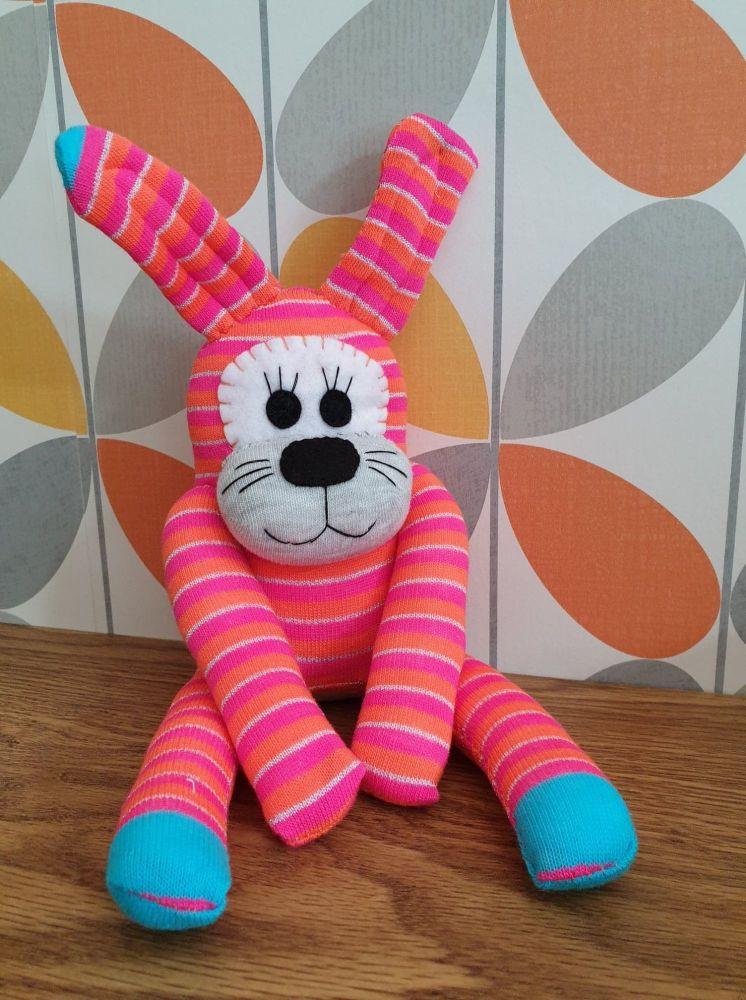 Pink Stripey Sock Bunny/Rabbit
