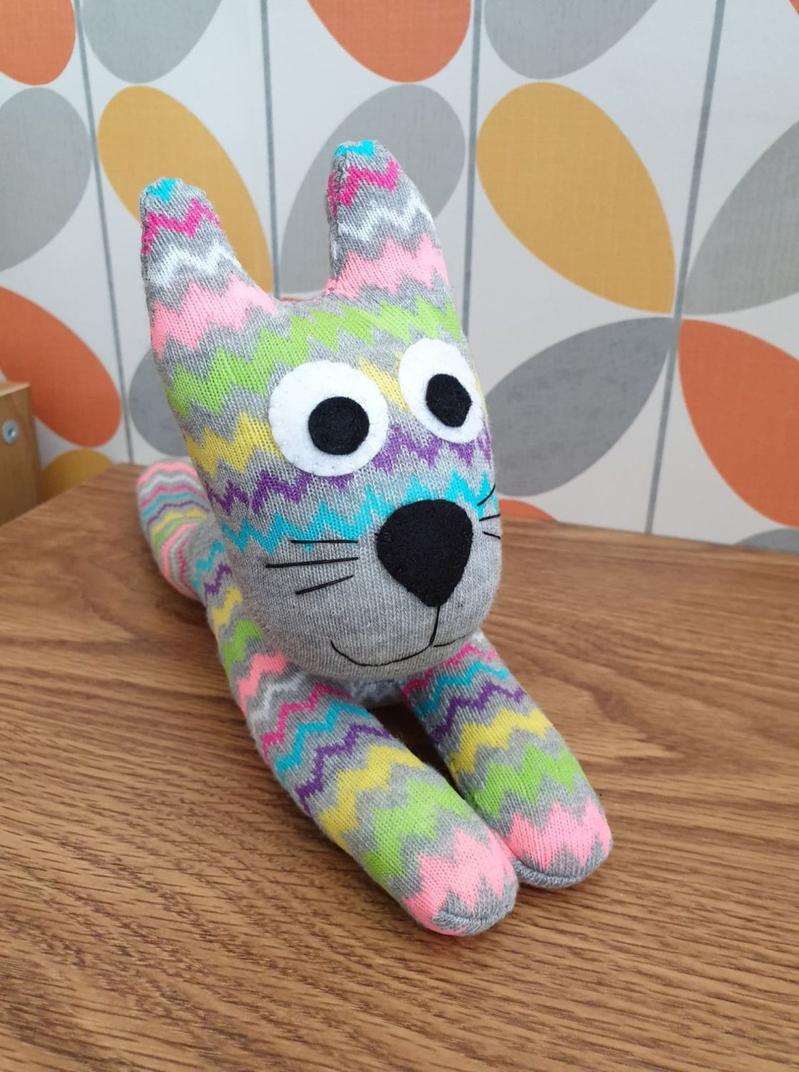Grey Zigzag stripey Sock Cat
