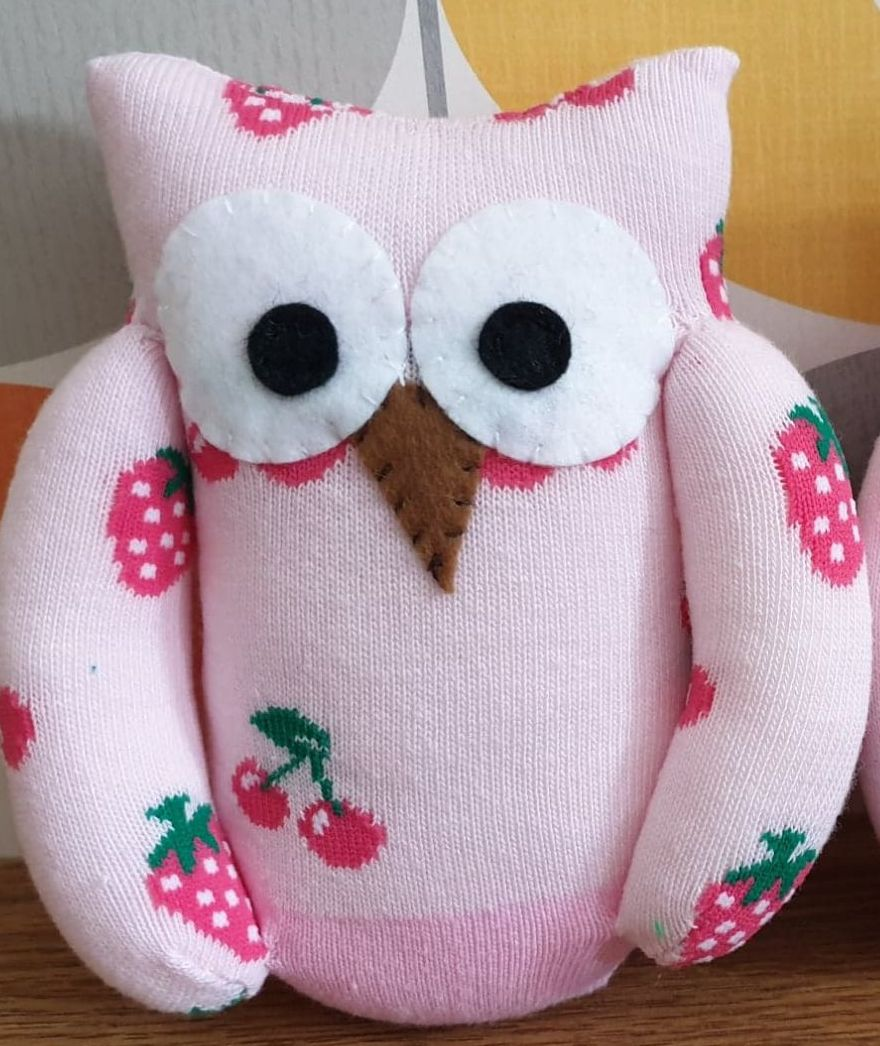 Pink Sock Owl Fruit Design
