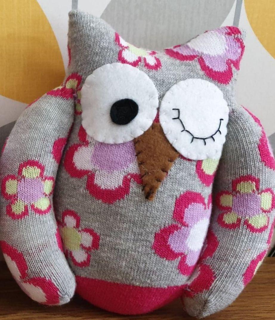 Grey Sock Owl Flower Design
