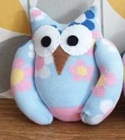 Blue Sock Owl Flower Design