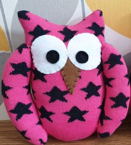 Sock Owl Pink Star Design