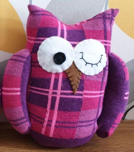 Sock Owl Pink/Purple Tartan Design