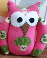 Pink Broccoli & Avocado Sock Owl