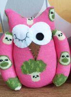 Pink Broccoli & Avocado Sock Owl
