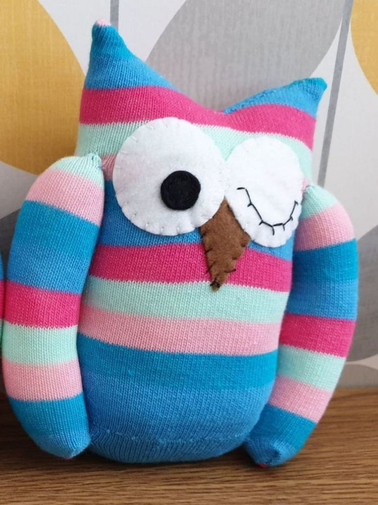 Colourful Striped winking Sock Owl
