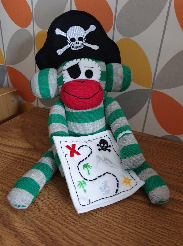 Green & Grey Striped Pirate Sock Monkey