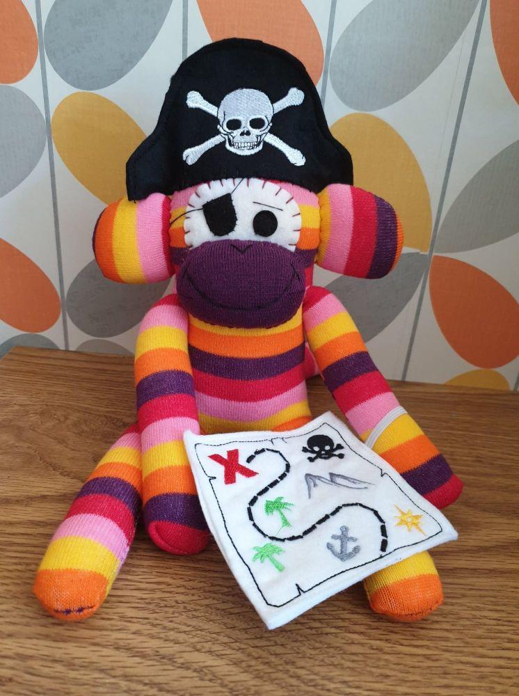 Orange & Grey Striped Pirate Sock Monkey