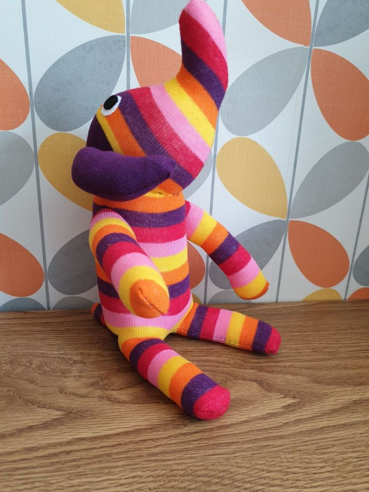 Bright Stripey Sock Elephant