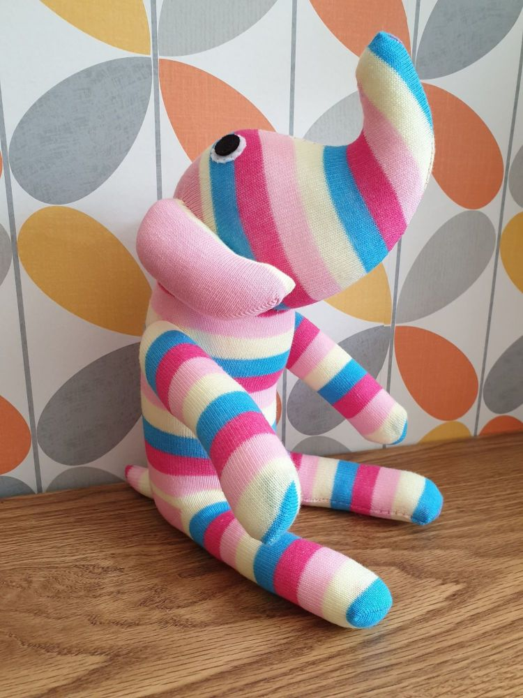 Pink Stripey Sock Elephant