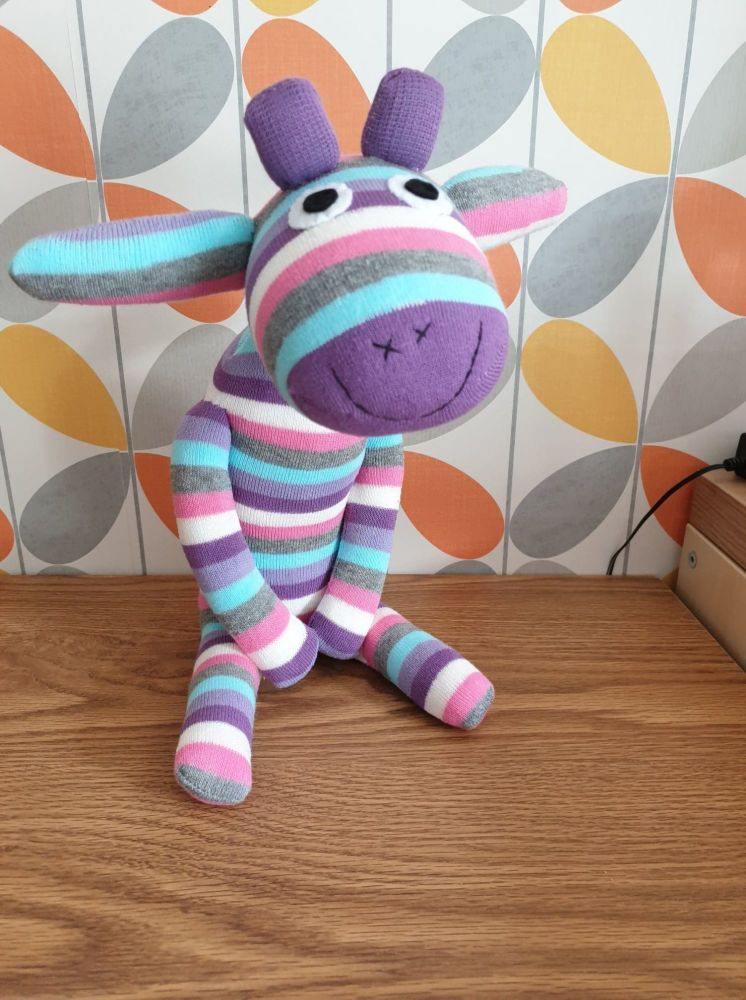 Purple Stripey Sock Giraffe