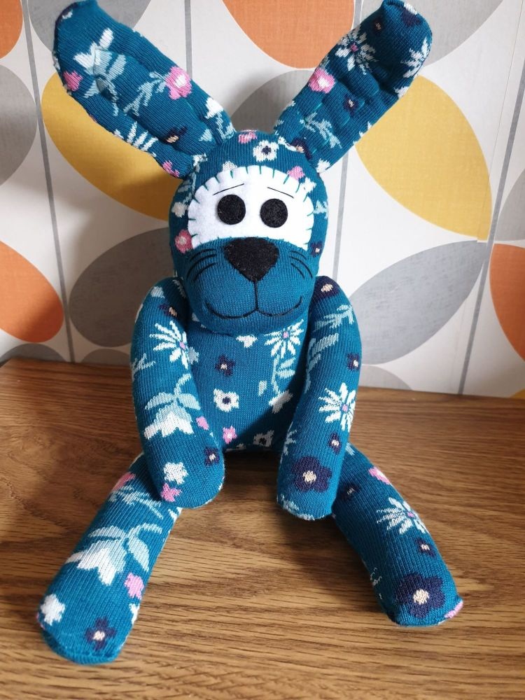 Teal Flower Sock Bunny/Rabbit