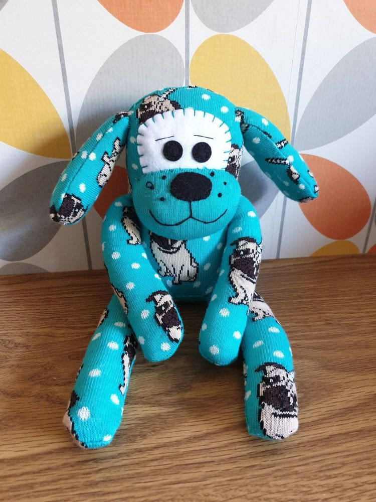 Teal Sock Dog with Pug Detail