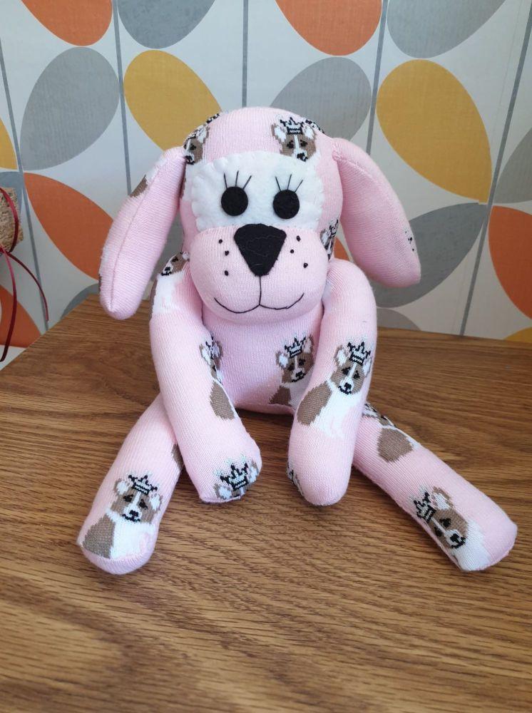 Pink Sock Dog with Corgi dog sock design