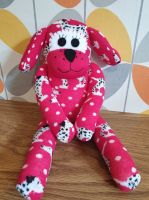 Red Sock Dog with Dalmatian dog sock design
