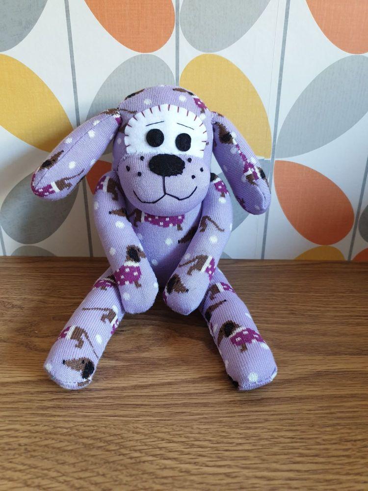 Purple Sock Dog with Sausage dog  design to sock