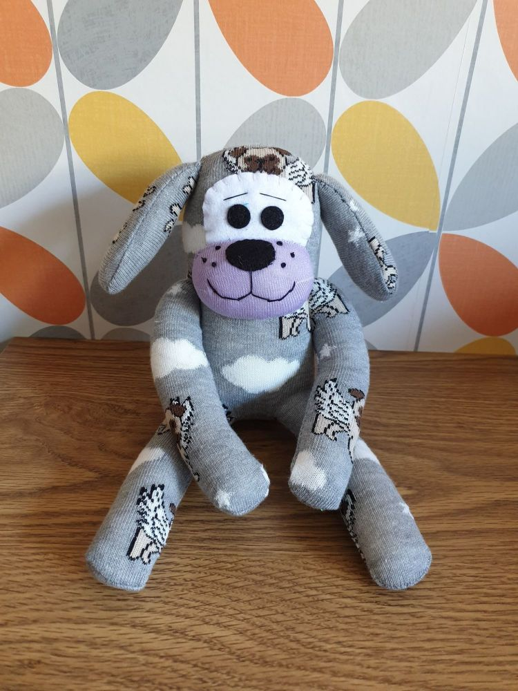 Grey Sock Dog with Pug Detail