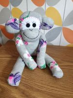 Grey Sock Monkey with Bird and flower design