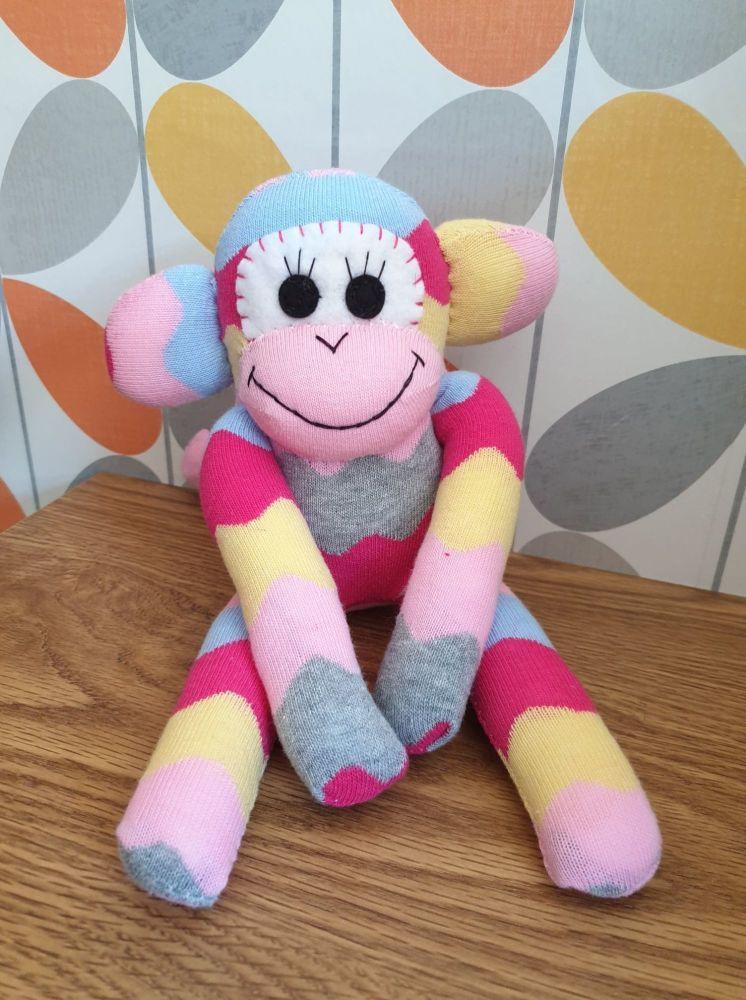 Pink wavy Stripey Sock Monkey