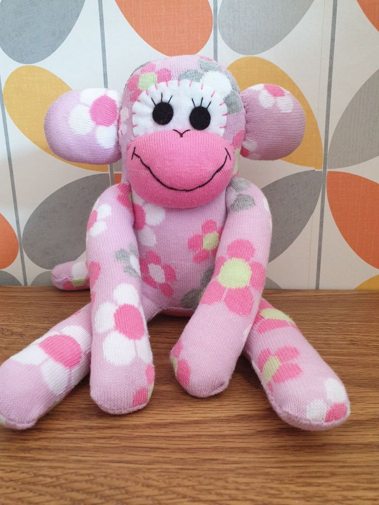 Pink Sock Monkey with Flowers